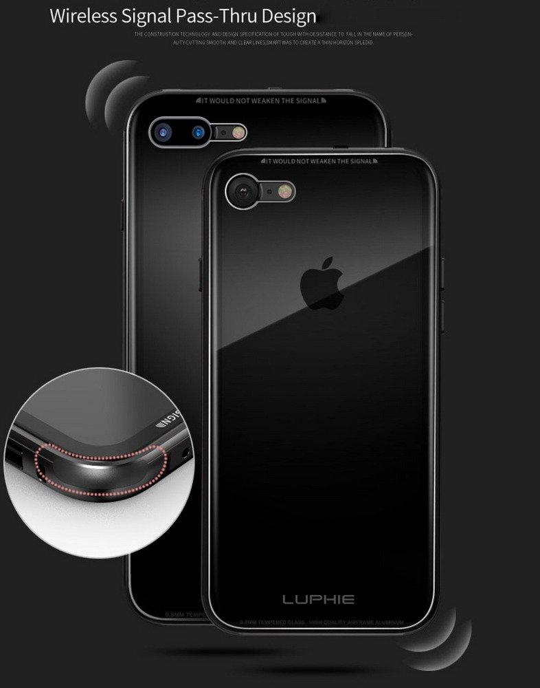 luphie alu clear glass case etui iphone 7 8 4 7 black czarny apple iphone iphone 7 4. Black Bedroom Furniture Sets. Home Design Ideas
