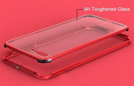 Luphie Alu + Clear Glass Case Etui iPhone 7/8 (4.7) (Red)