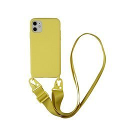 D-Pro Crossbody Silicone Case XL Strap / Torebka Smycz iPhone 12 Mini (Yellow)