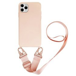 D-Pro Crossbody Silicone Case XL Strap etui z paskiem do iPhone XS Max (Pink)
