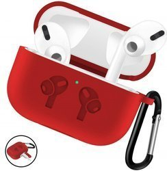 D-Pro Silicone Case + Metal Clip Etui Z Karabińczykiem Apple AirPods Pro (Red)
