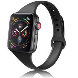 D-Pro Silicone Slim Band Pasek Apple Watch 1/2/3/4/5/6/SE 42/44mm (Black)