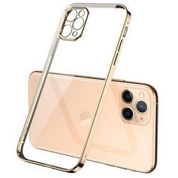 D-Pro Square Chrome TPU Etui Silikonowe do iPhone 11 Pro Max (Clear/Gold)
