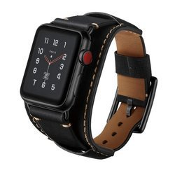 Dundee Band skórzany pasek do Apple Watch 1/2/3/4/5/6/SE 42/44mm (Black)
