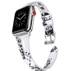 Leather Slim Cut Band Pasek Skórzany Apple Watch 1/2/3/4/5 (42/44mm) (White/Gray Floral)