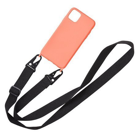 D-Pro Crossbody Silicone Case XL Strap etui z paskiem do iPhone X/XS (Orange+Black)
