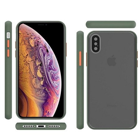 EverTech Contrast Matowe Etui Obudowa iPhone X/XS (Army Green/Red)