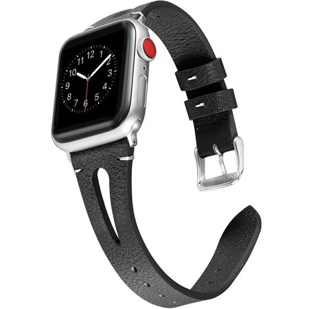 Leather Slim Cut Band Pasek Skórzany Apple Watch 1/2/3/4/5/6/SE (42/44mm) (Black)